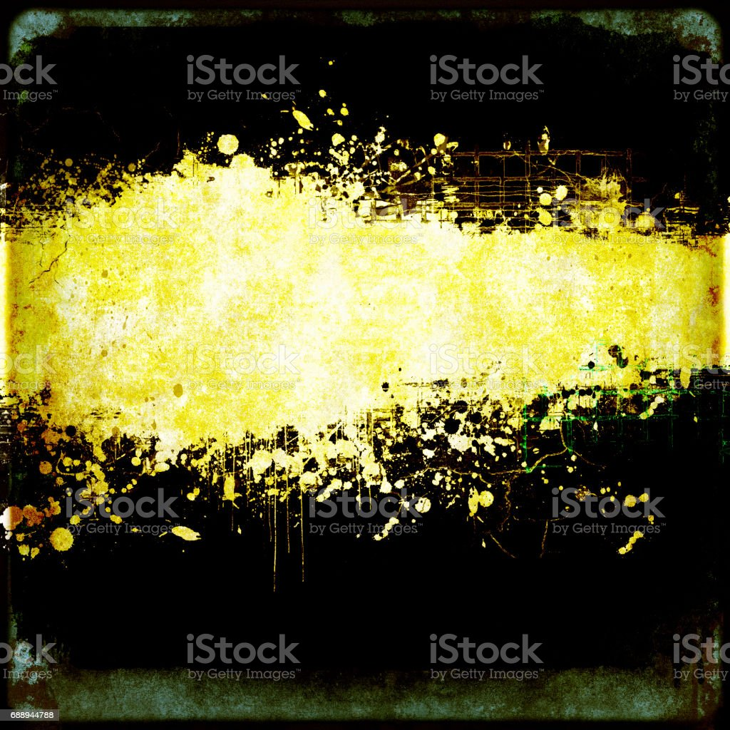 Grunge dripping  black and yellow banner with copy space. vector art illustration
