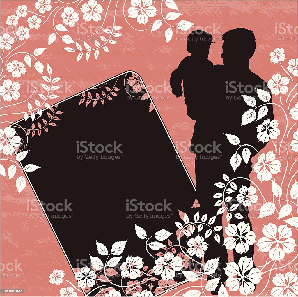 Grunge father, floral background royalty-free stock vector art