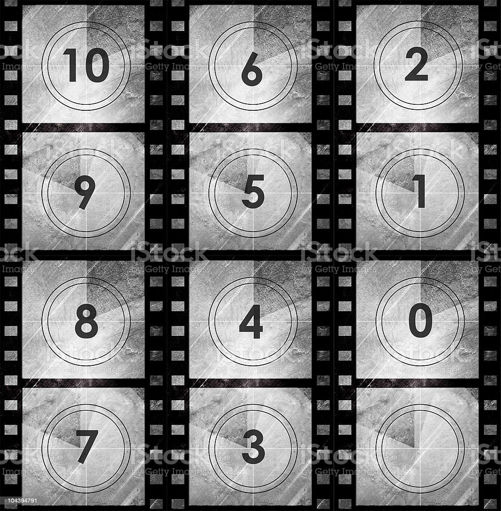 Grunge film countdown in dark color royalty-free stock vector art