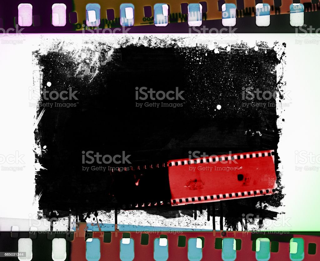 Grunge film strip frame with dripping stock photo