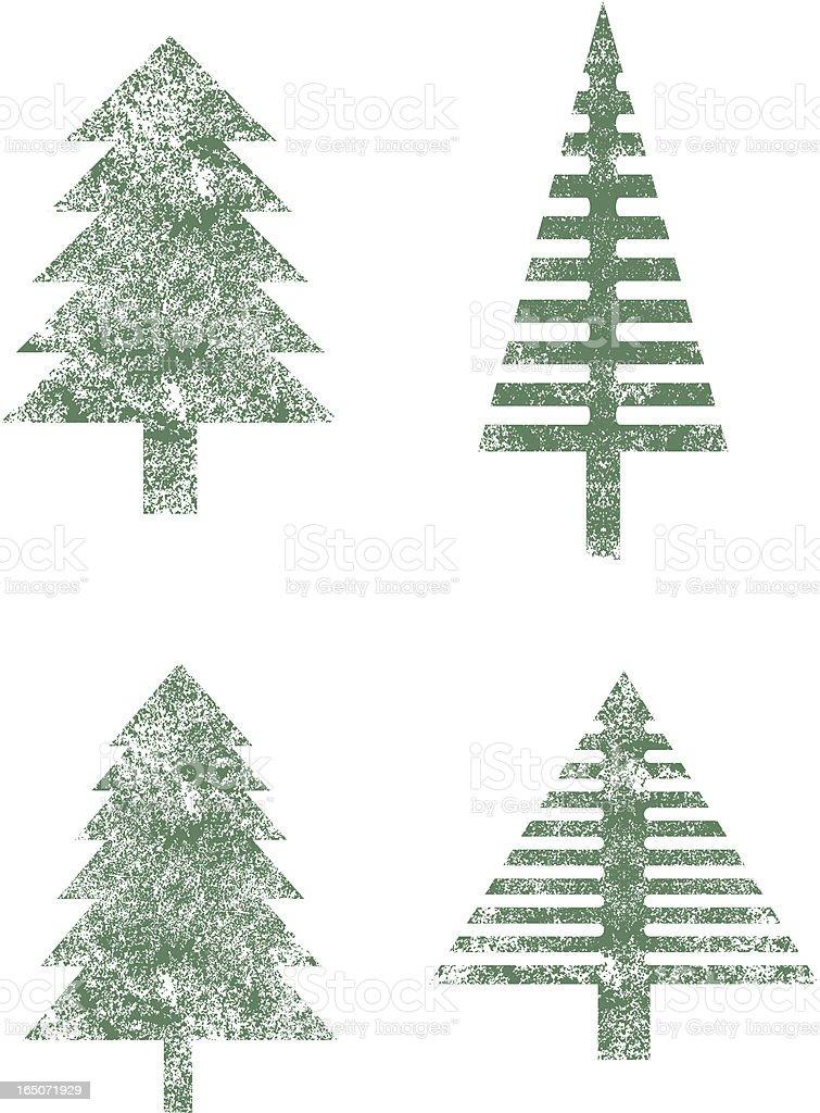 Grunge fir trees vector art illustration