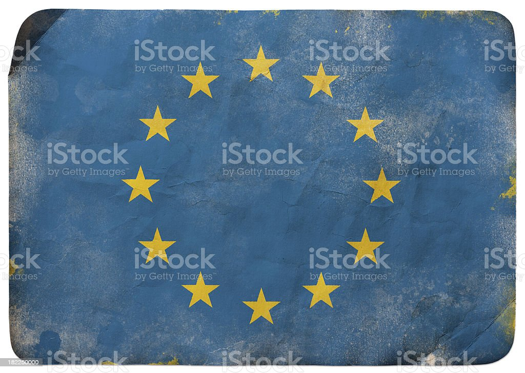 Grunge flag of European Union vector art illustration