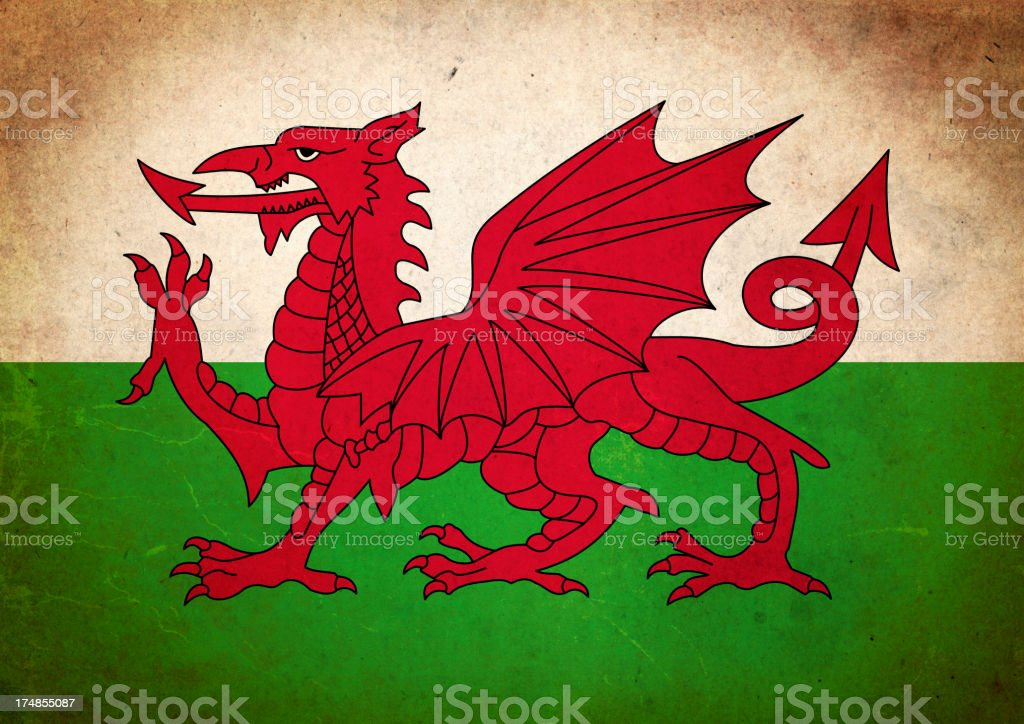 Grunge Flag of Wales royalty-free stock vector art