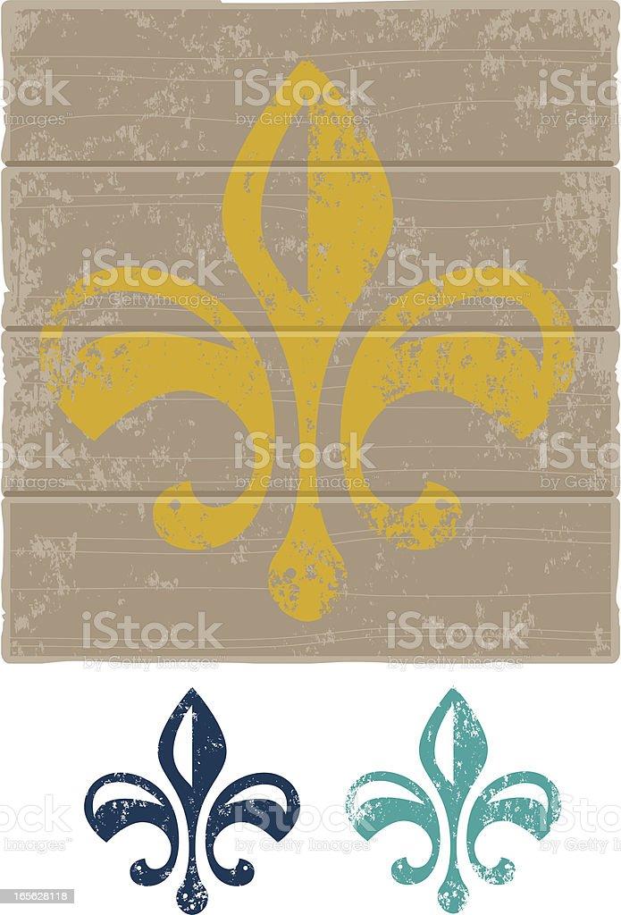 Grunge Fleur de Lys royalty-free stock vector art
