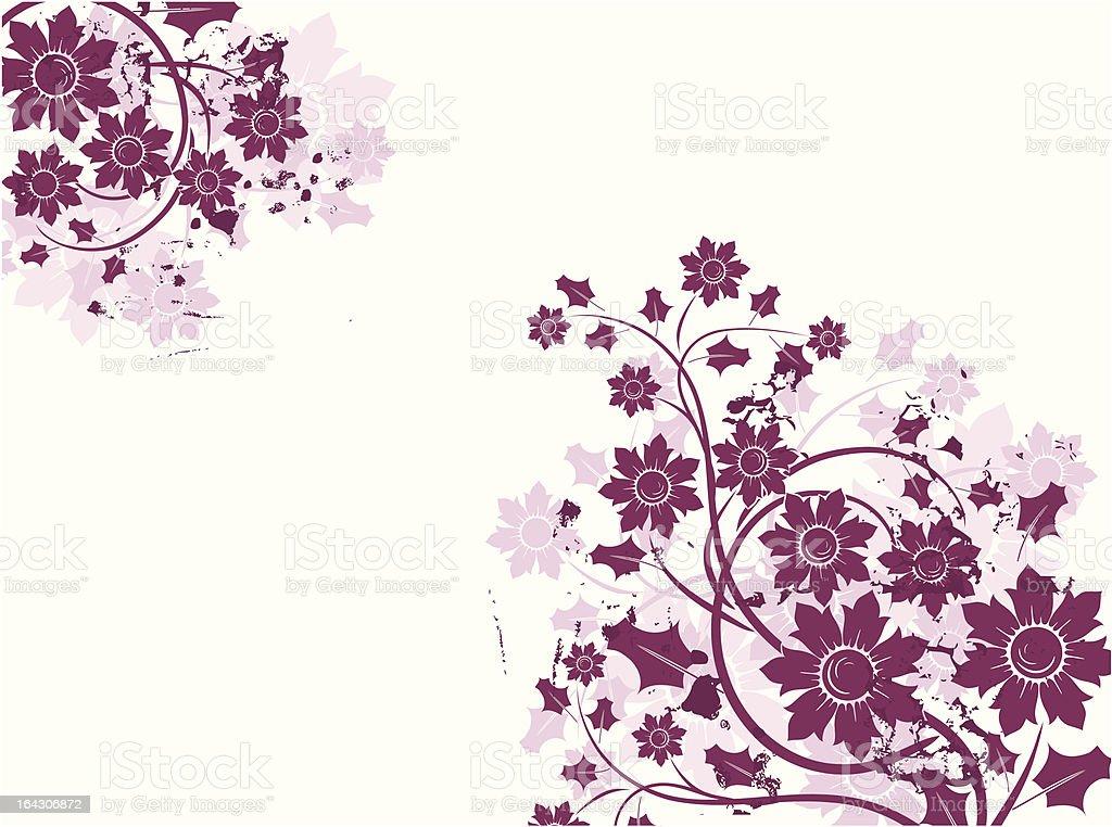 Grunge floral background vector art illustration