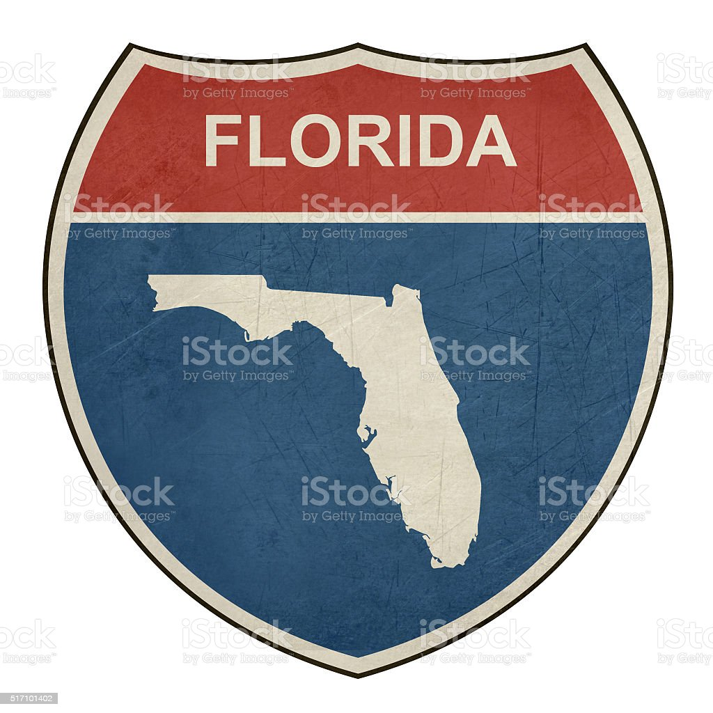 Grunge Florida interstate highway shield vector art illustration