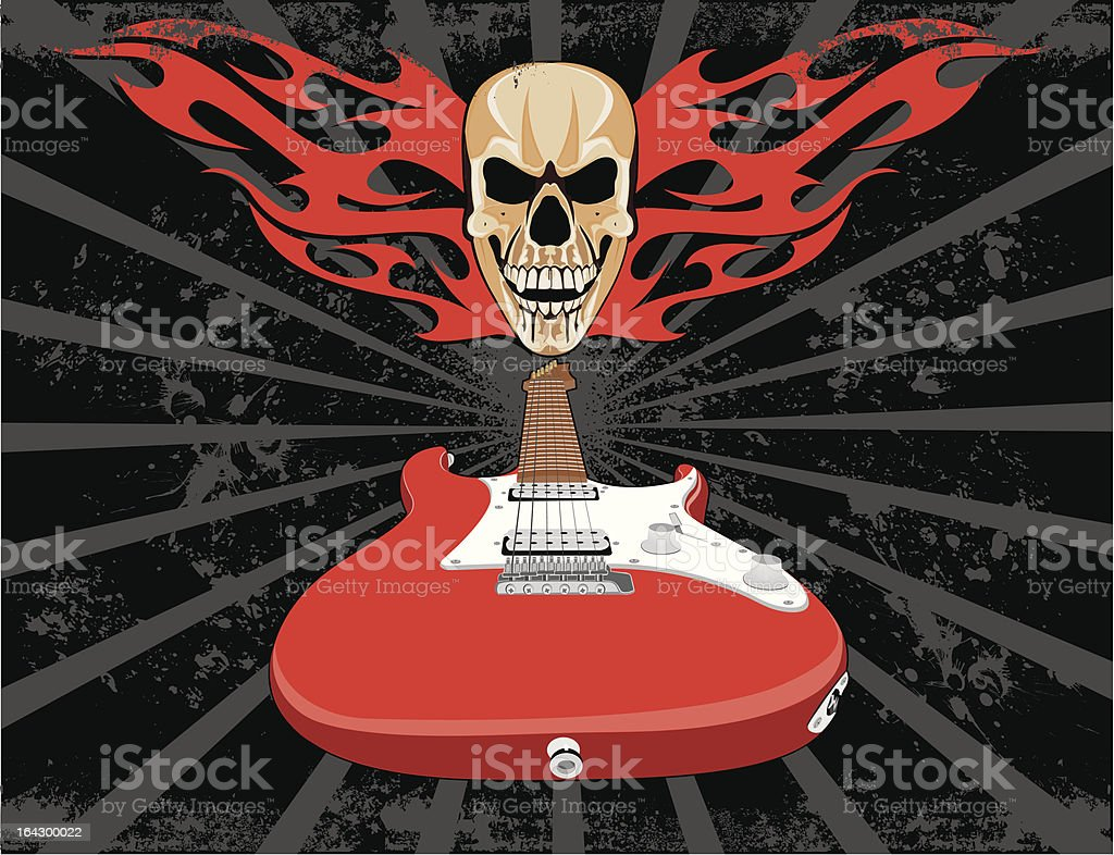 Grunge Guitar and Skull royalty-free stock vector art
