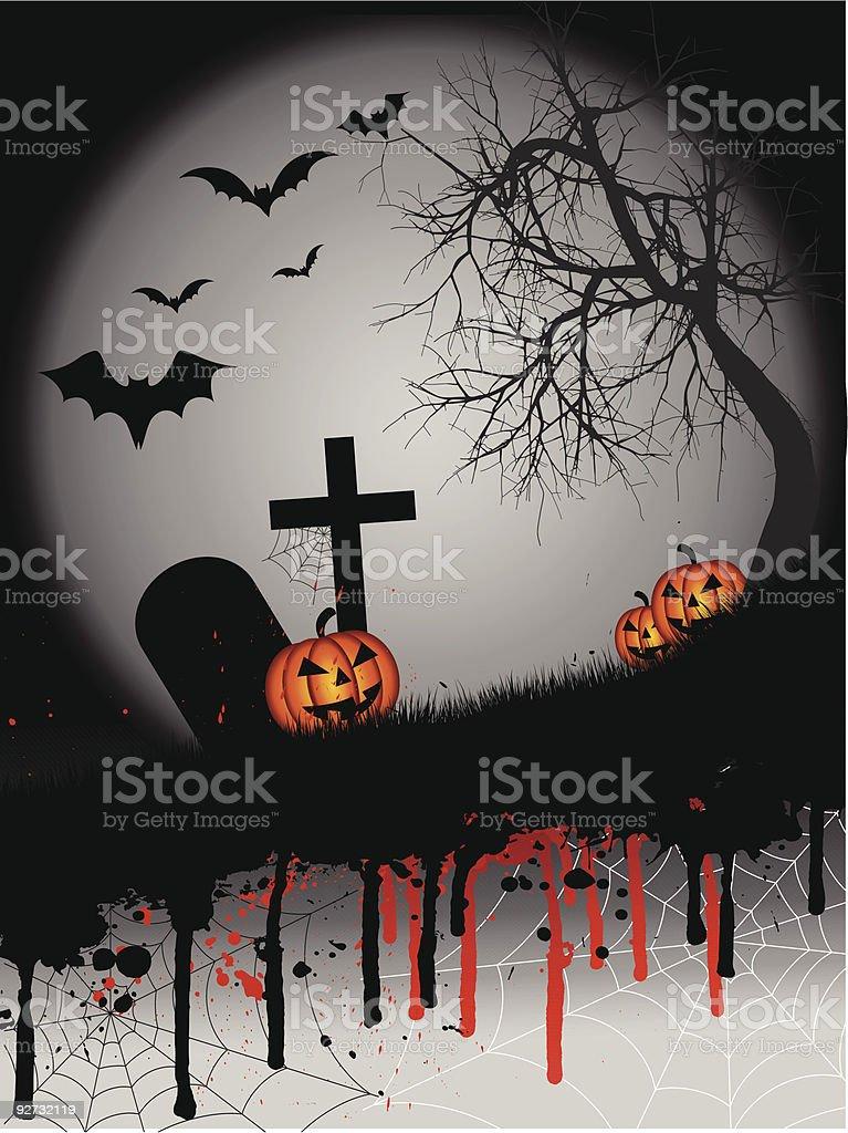 Grunge Halloween vector art illustration