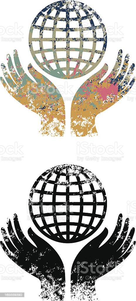 Grunge hands and globe royalty-free stock vector art