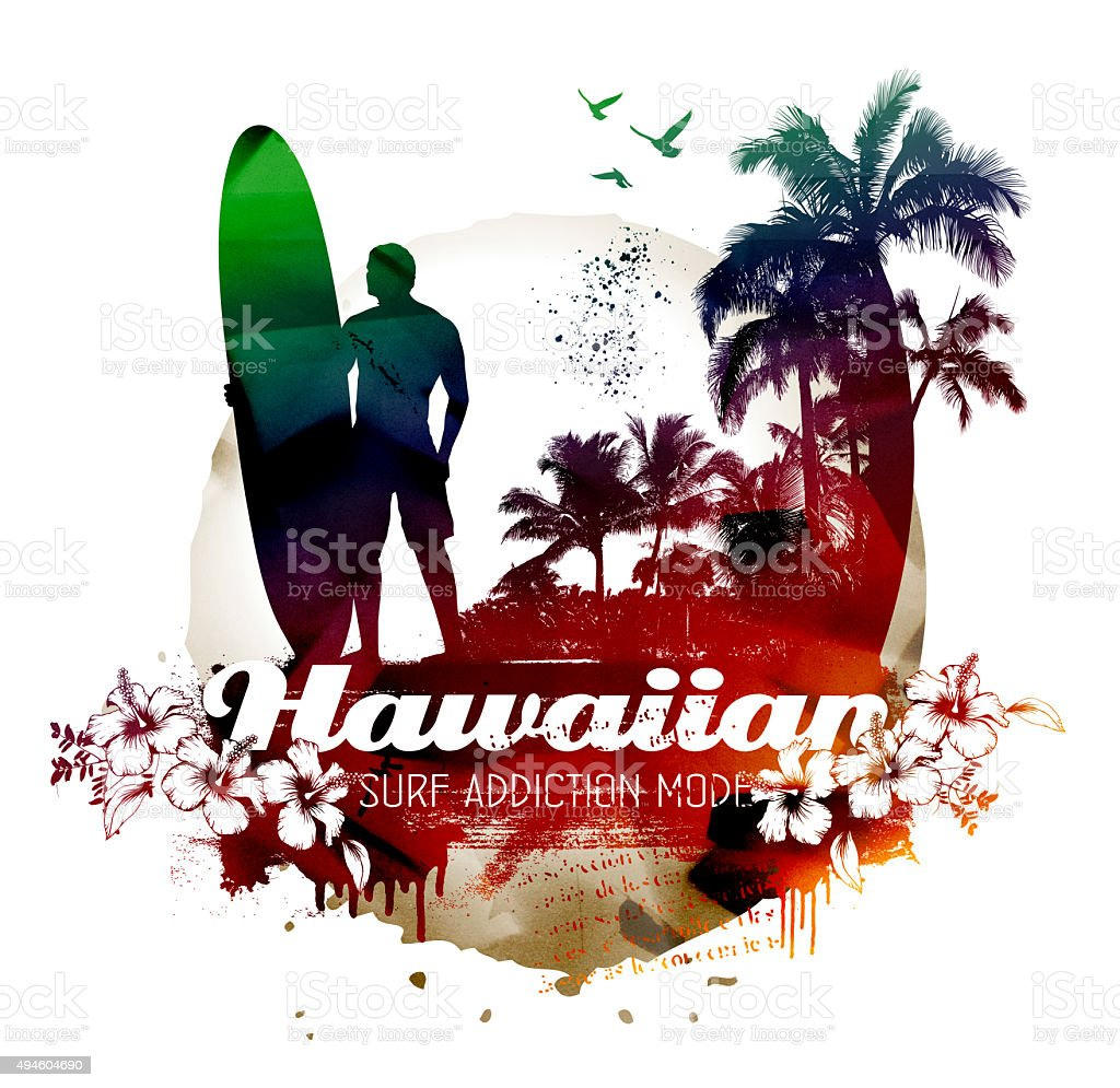 grunge hawaiian surf beach with surfer vector art illustration