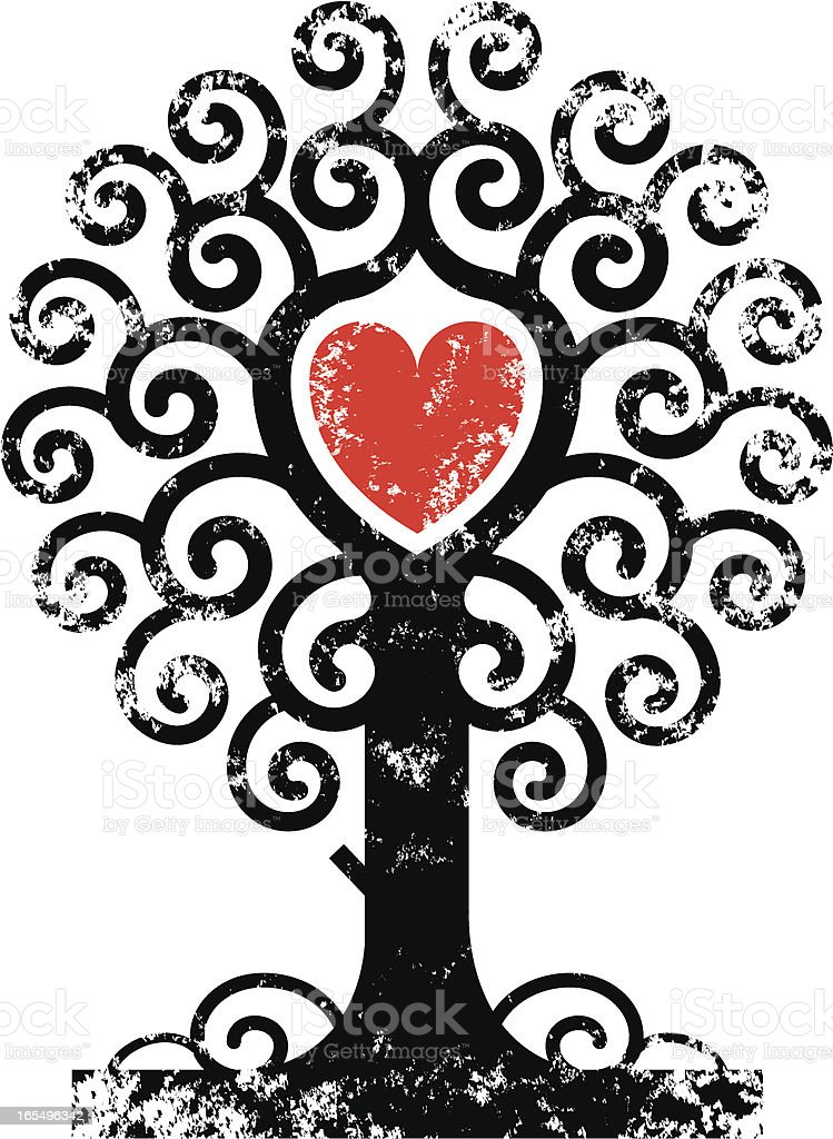 Grunge heart tree vector art illustration