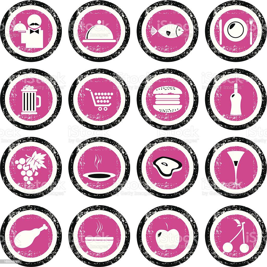 Grunge Icon Set - Kitchen royalty-free stock vector art