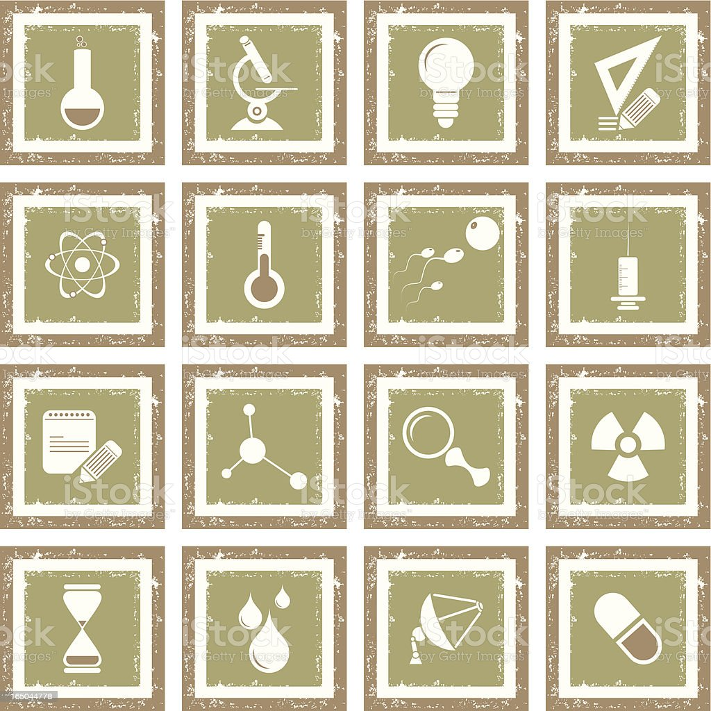 Grunge Icon Set - Science royalty-free stock vector art