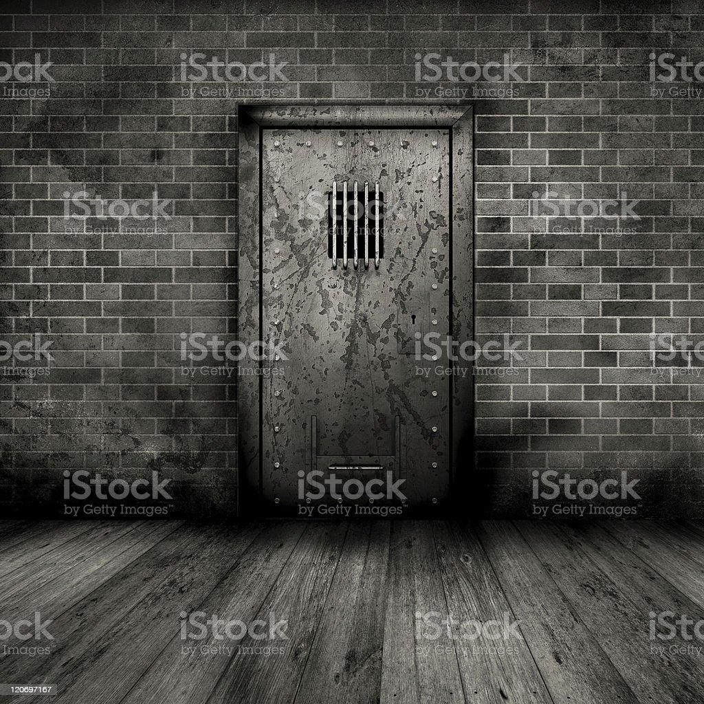 Grunge interior with prison door vector art illustration