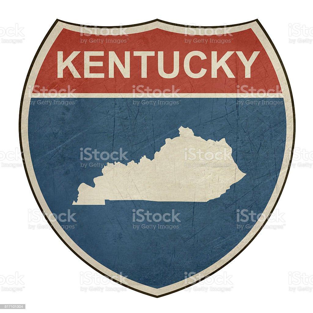 Grunge Kentucky interstate highway shield vector art illustration