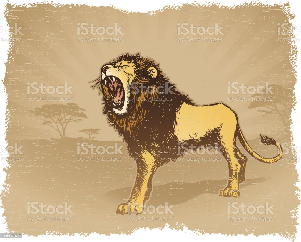 Grunge Lion vector art illustration