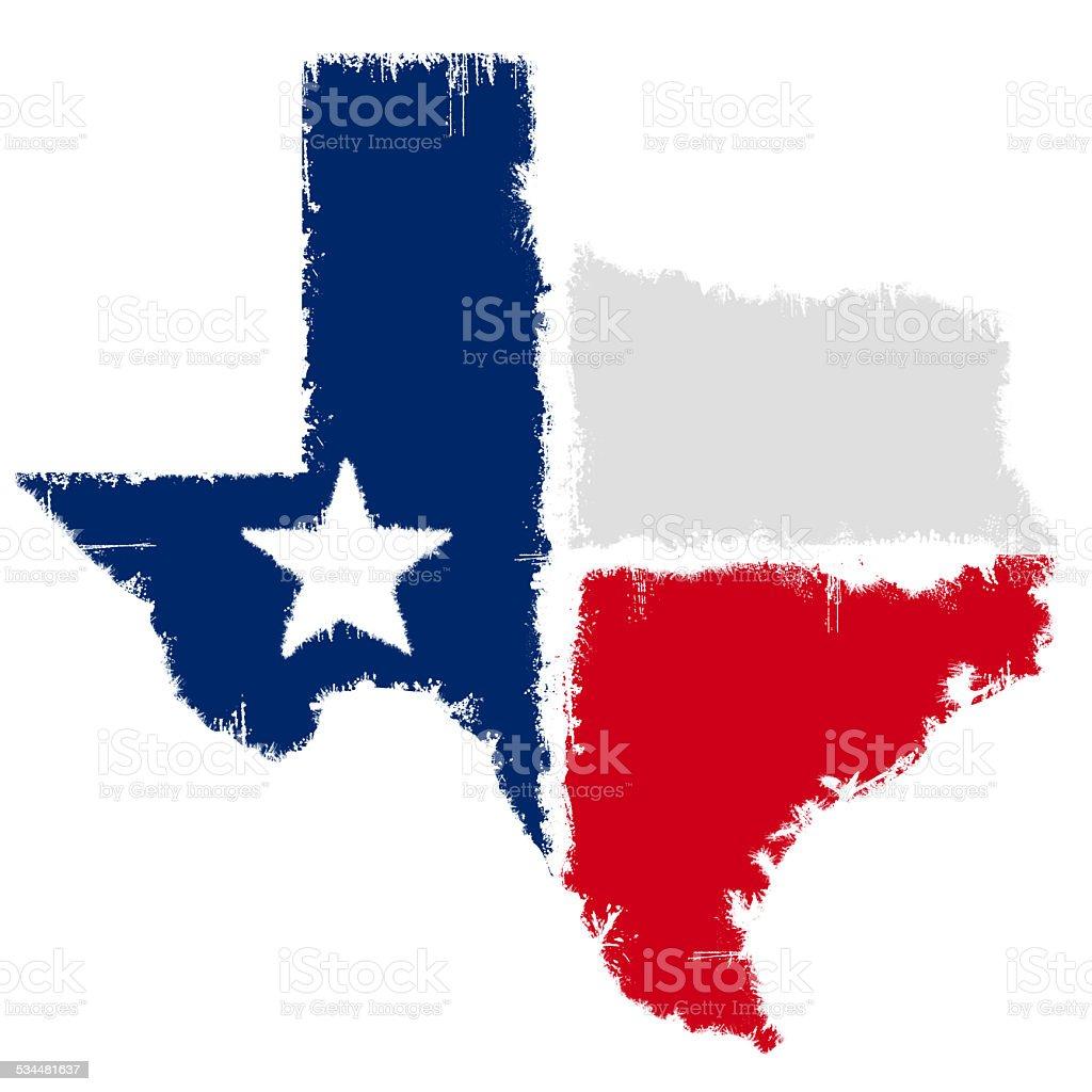 Grunge map flag of Texas vector art illustration