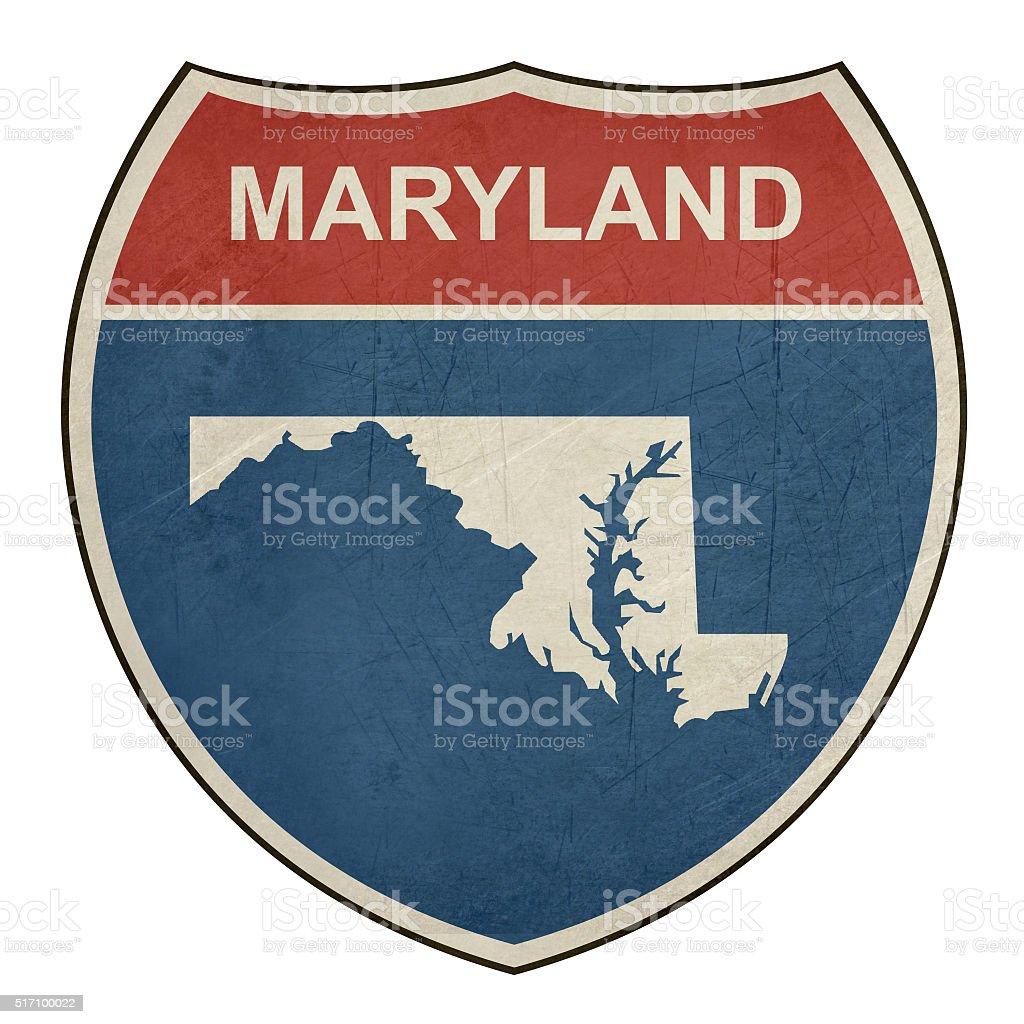 Grunge Maryland interstate highway shield vector art illustration