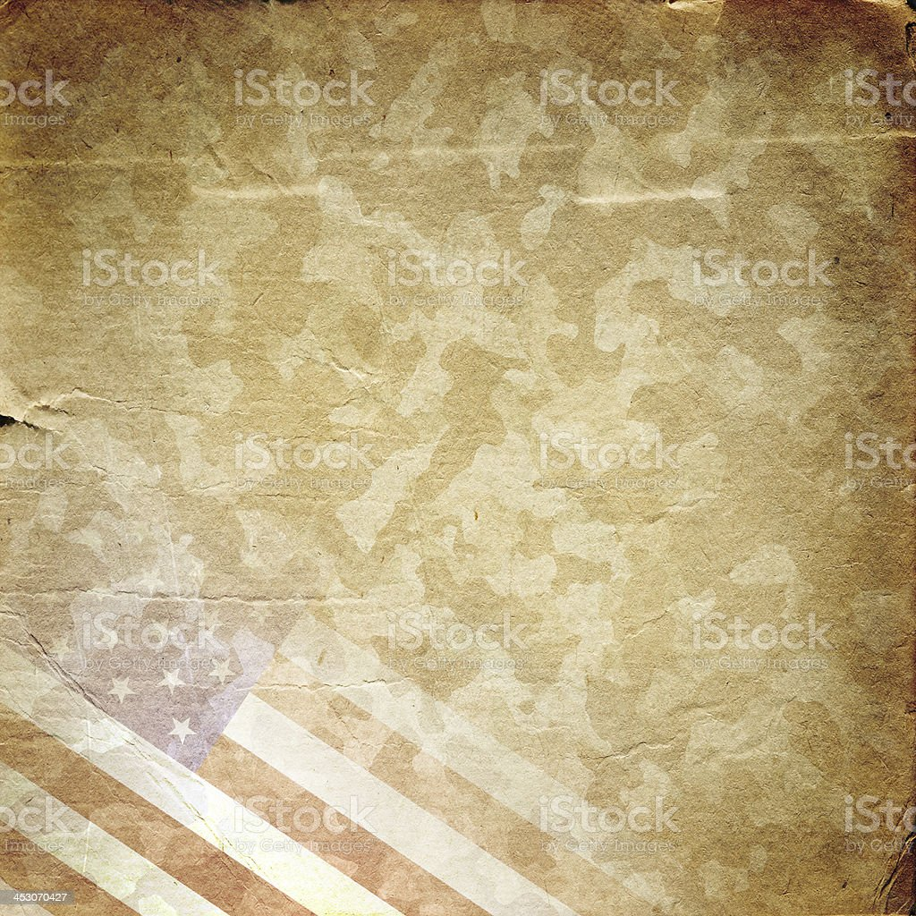 Grunge military background in yellow vector art illustration