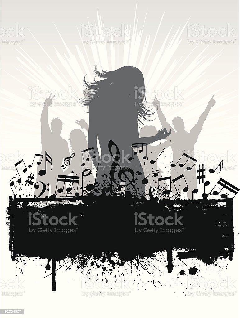 Grunge music background royalty-free stock vector art