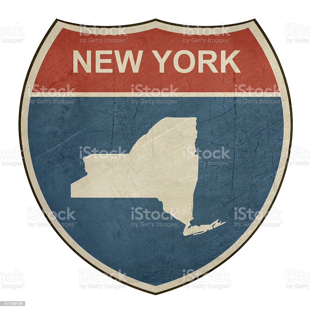 Grunge New York interstate highway shield vector art illustration