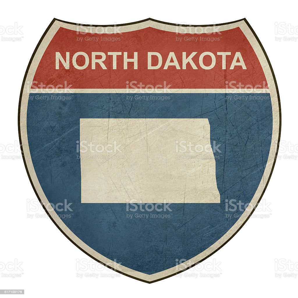 Grunge North Dakota interstate highway shield vector art illustration