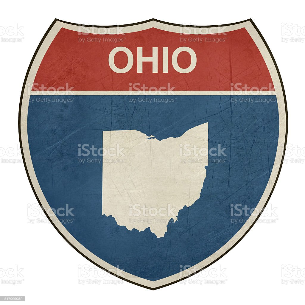 Grunge Ohio interstate highway shield vector art illustration