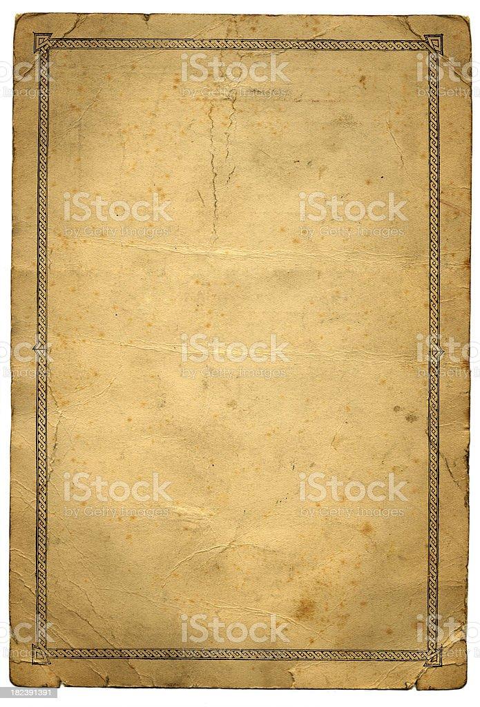 Grunge paper with pattern border vector art illustration