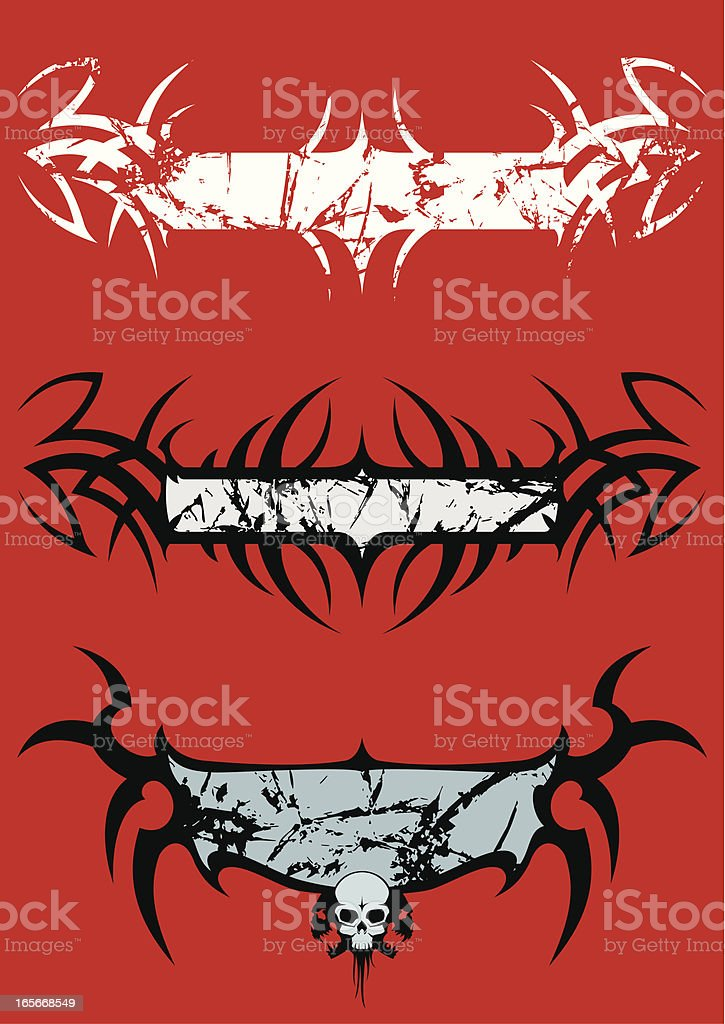 Grunge placards in dark style royalty-free stock vector art