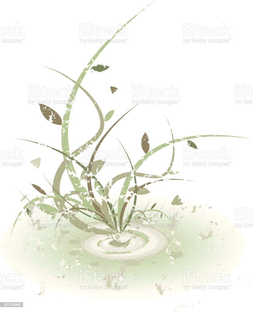 Grunge plant design vector art illustration