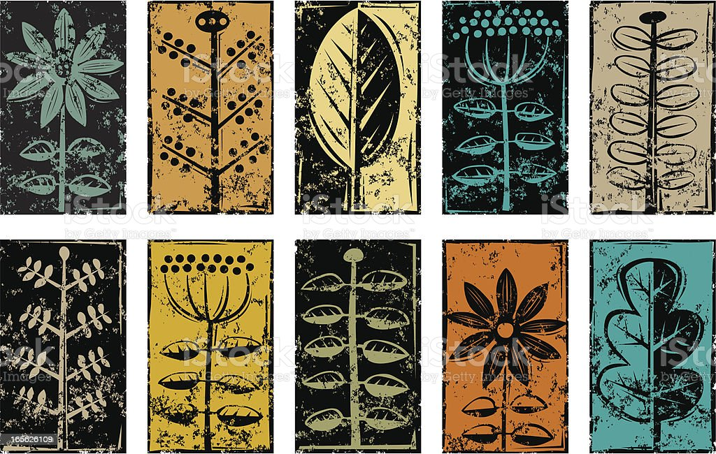 Grunge plant symbols royalty-free stock vector art