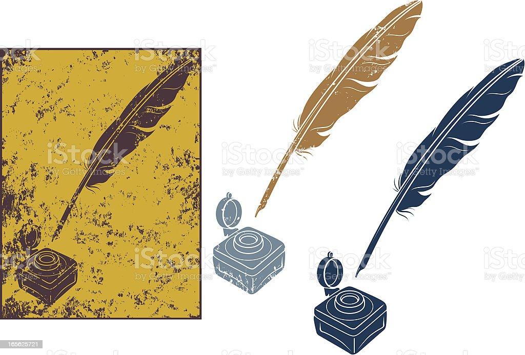 Grunge quill pen vector art illustration