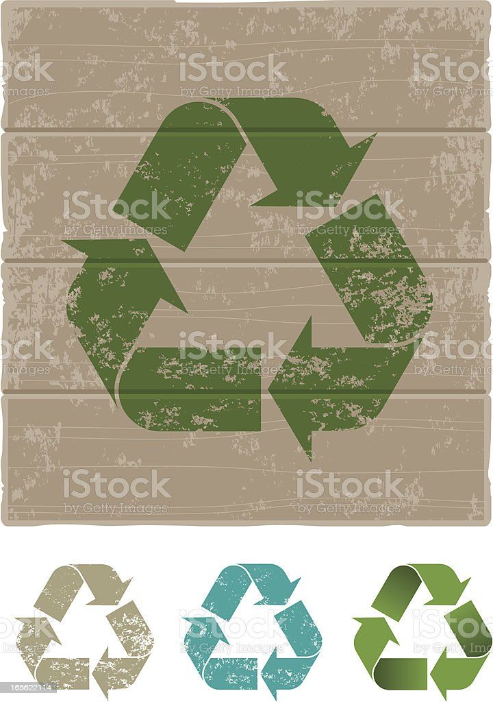 Grunge recycling sign royalty-free stock vector art
