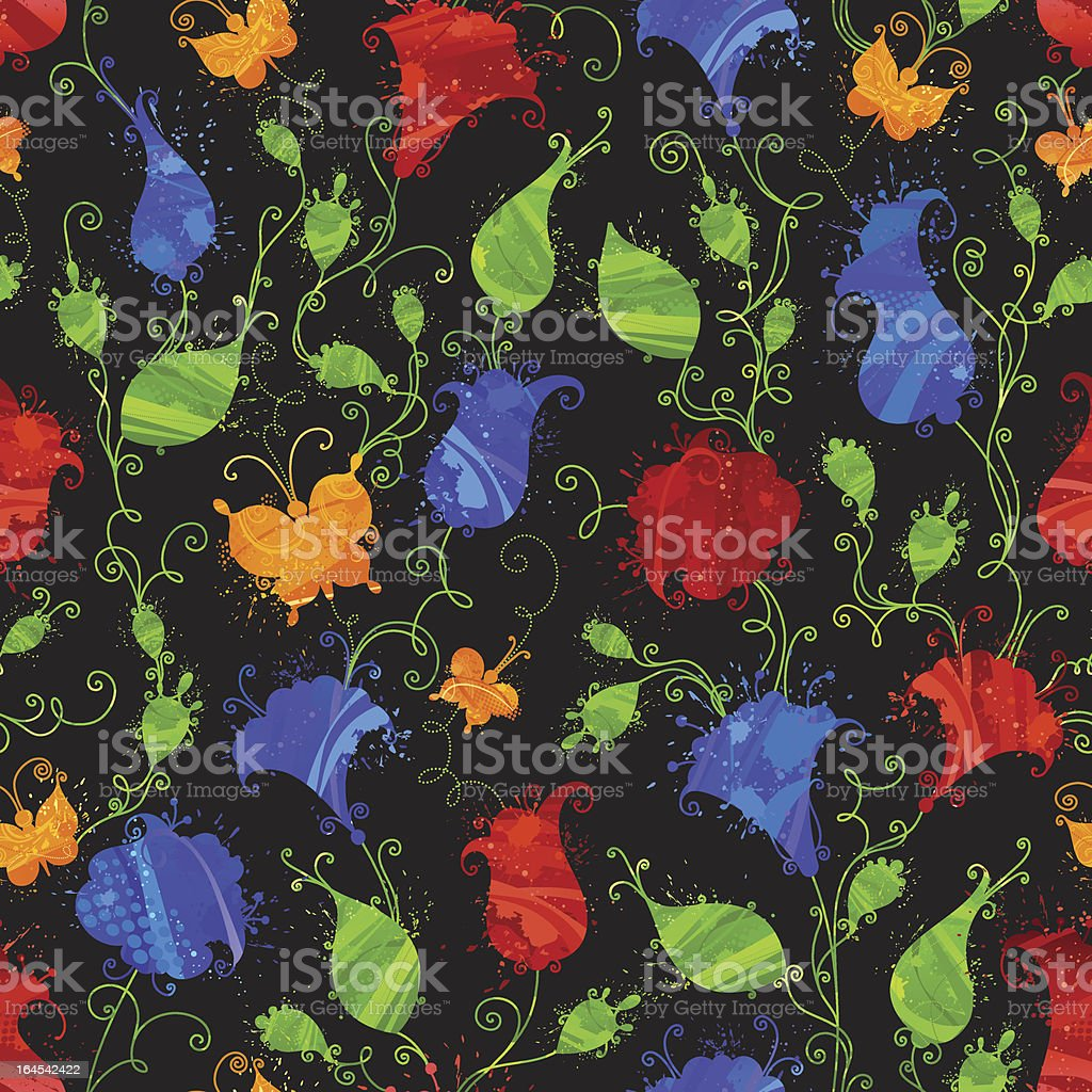 Grunge seamless floral pattern royalty-free stock vector art