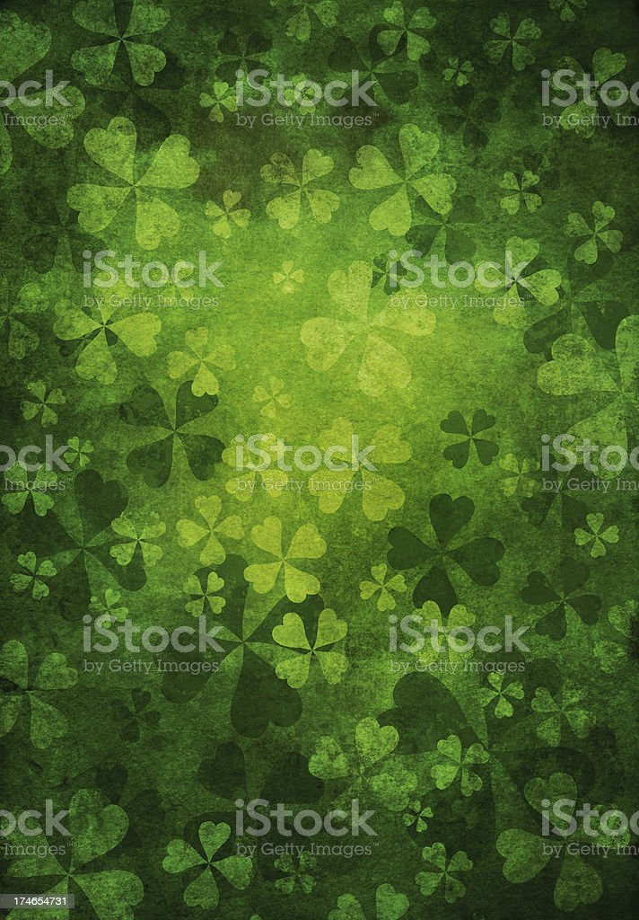 grunge shamrock background vector art illustration