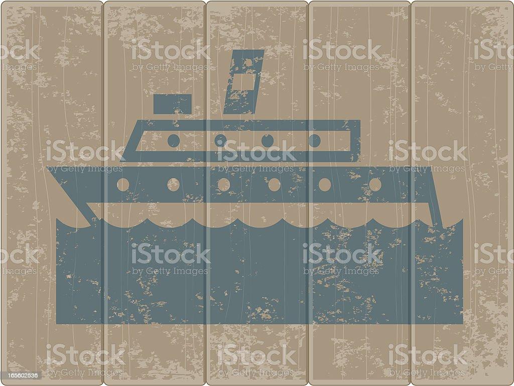 Grunge ship vector art illustration