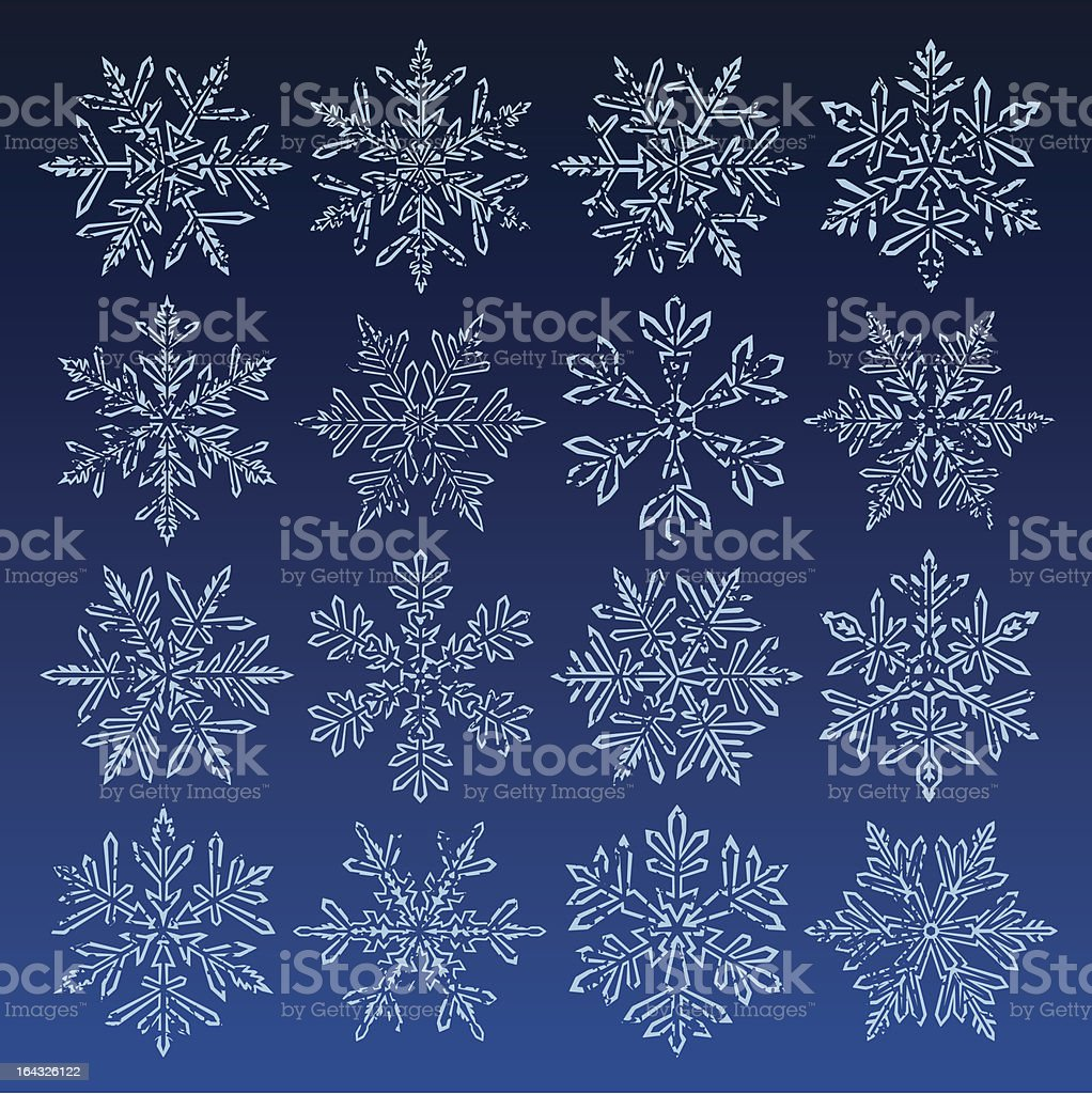 Grunge Snowflakes vector art illustration