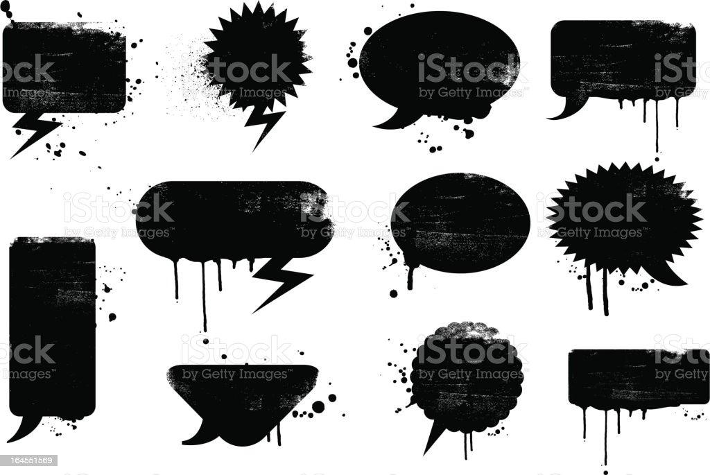 Grunge speech bubbles vector art illustration