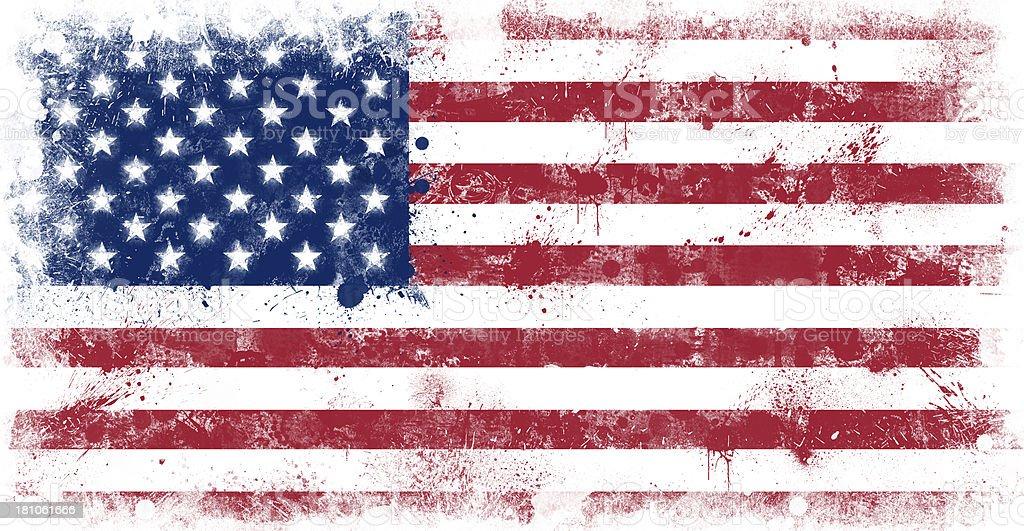 Grunge Splatter Painted American Flag vector art illustration