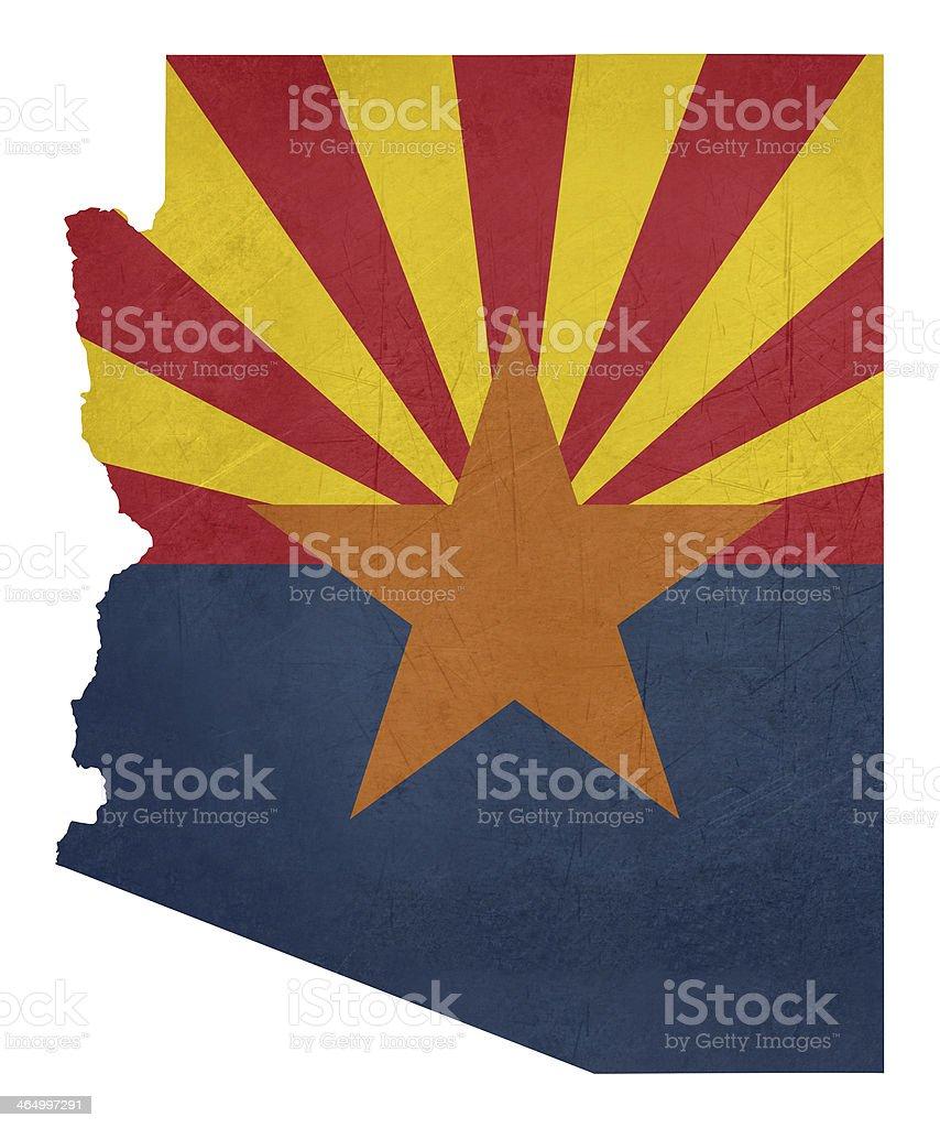 Grunge state of Arizona flag map vector art illustration