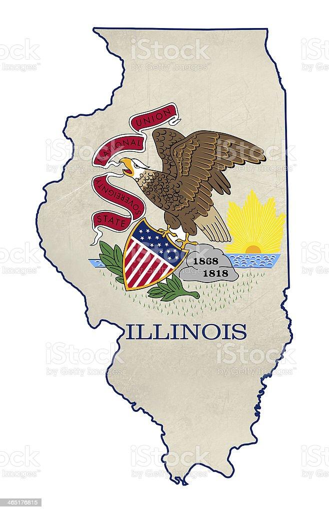 Grunge state of Illinois flag map vector art illustration