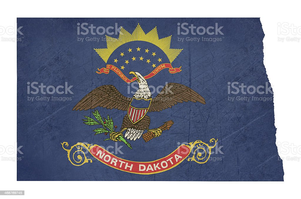 Grunge state of North Dakota flag map vector art illustration