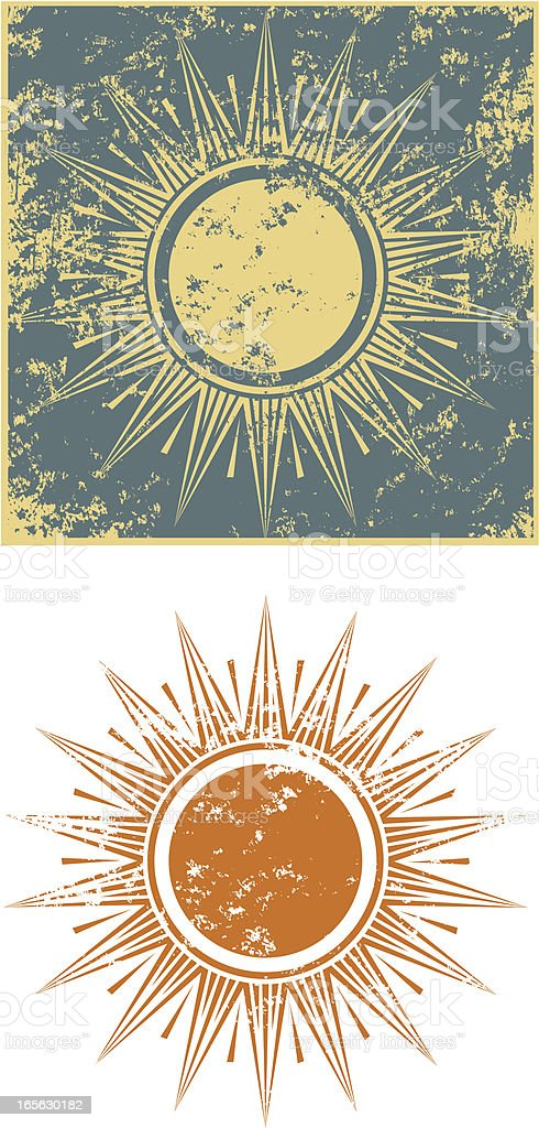 Grunge sun three royalty-free stock vector art