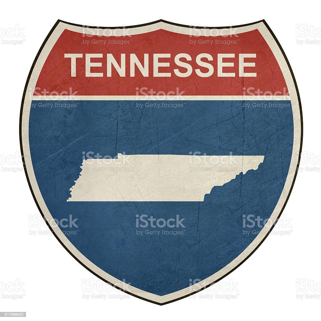 Grunge Tennessee interstate highway shield vector art illustration