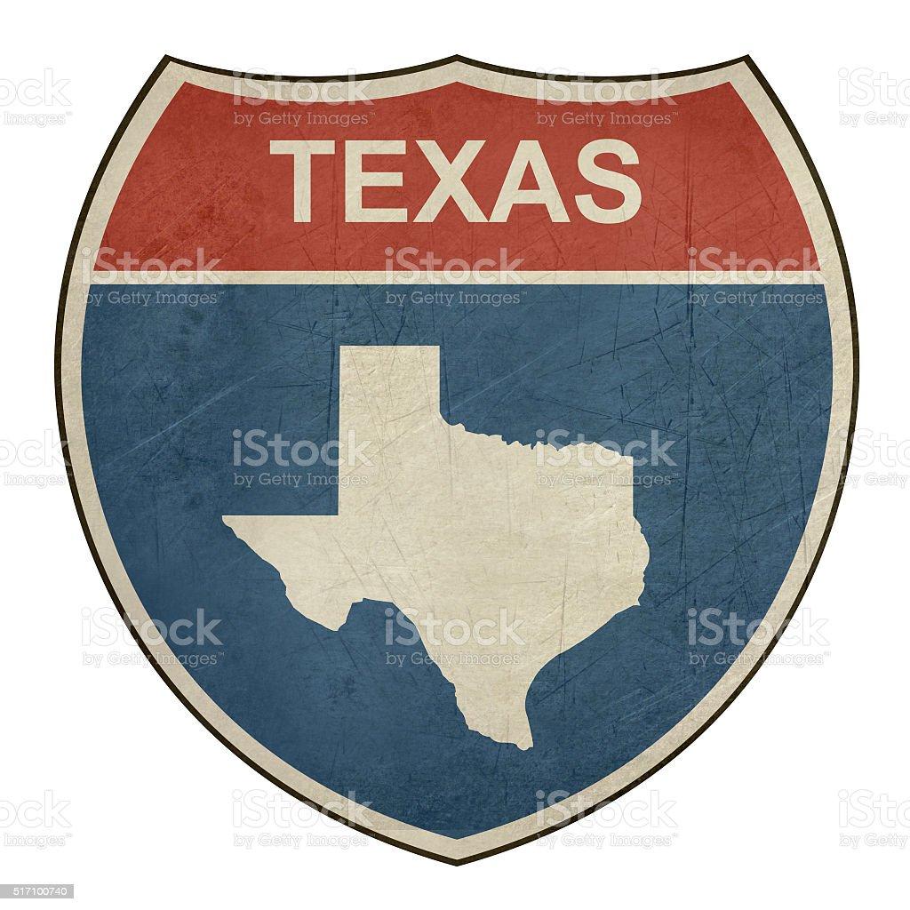 Grunge Texas interstate highway shield vector art illustration