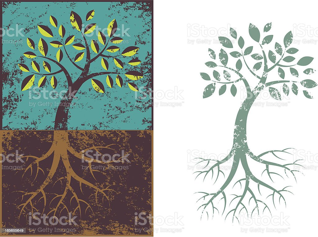Grunge tree and roots. royalty-free stock vector art