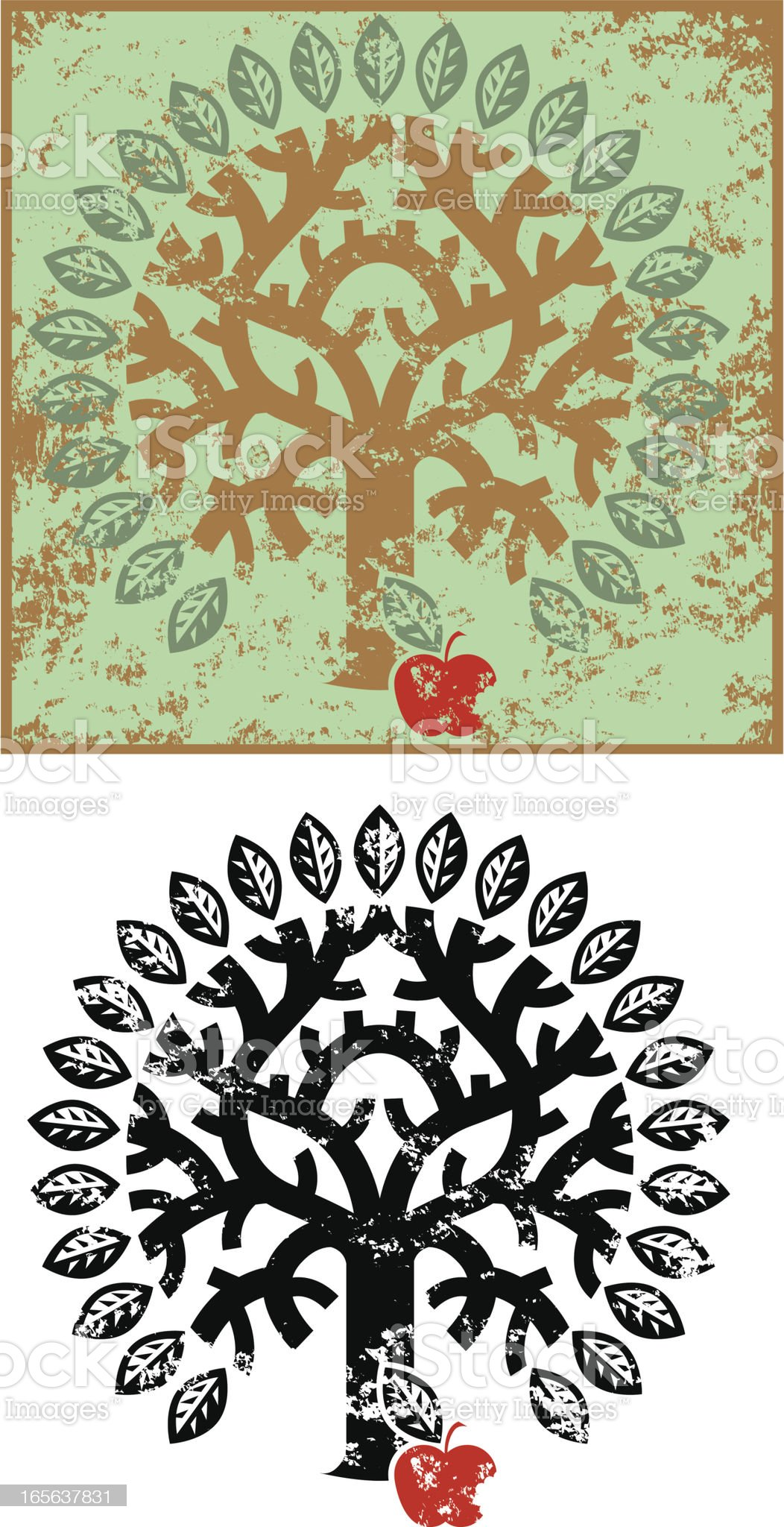 Grunge tree of knowledge royalty-free stock vector art