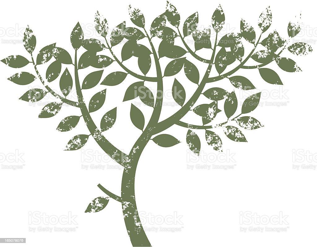 Grunge tree six vector art illustration