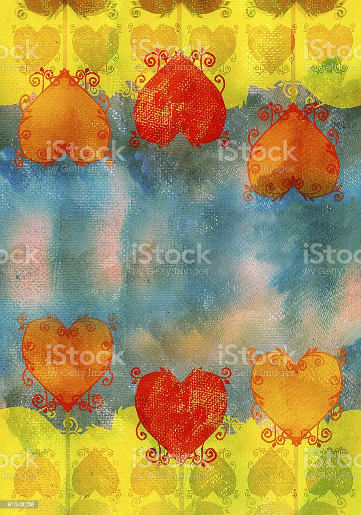 grunge valentine background with heart shapes royalty-free stock vector art