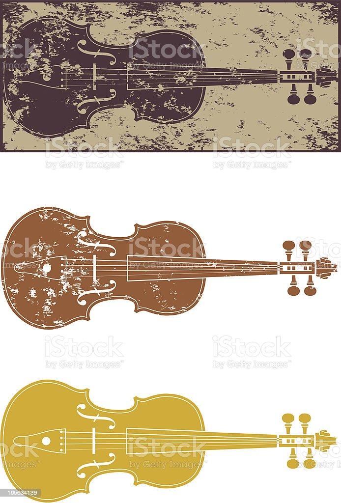 Grunge violin vector art illustration